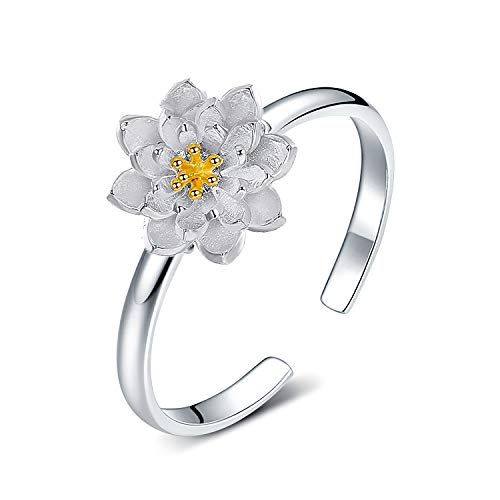 Madeone ✦18K Gold Plating Summer Flower Daisy Bauhinia Adjustable Ring for Women Hypoallergenic with Box Packing (Chrysanthemum)