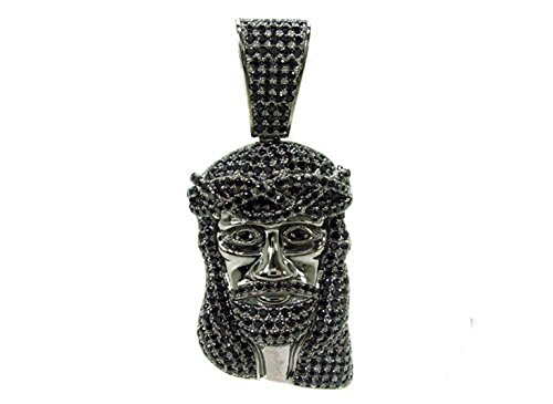 ".925 Silver Covered in Black Rhodium 2"" Inch Jesus Face Crown of Thorns Charm Hip Hop Style Pendant by Traxnyc"