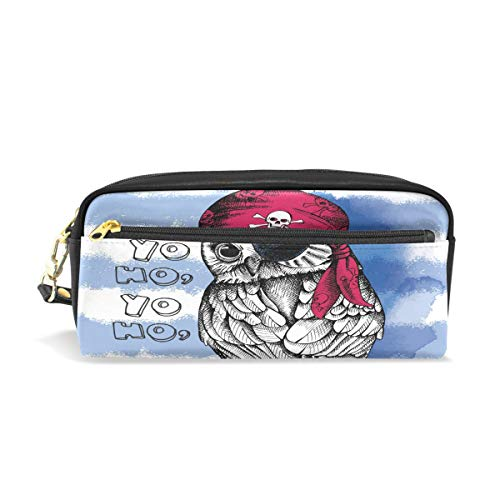 Toprint PU Leather Zipper Pencil Bag, Pirate Animal Bird Owl Pen Pencil Case Pouch Makeup Cosmetic Bag for Boys Girls Women Man Work -