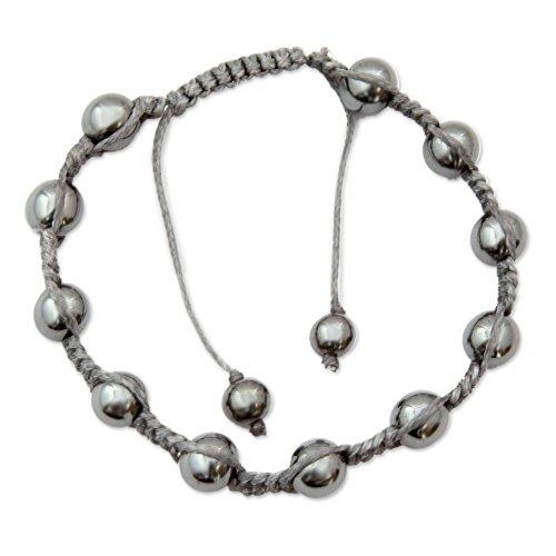 - NOVICA Hand Knotted Hematite Shambhala Style Bracelet, Peace in the Night'