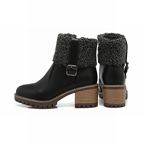 Carolbar Womens Faux Fur Buckle Zip Mid Heel Cold Weather Boots Black e0MAALQTH