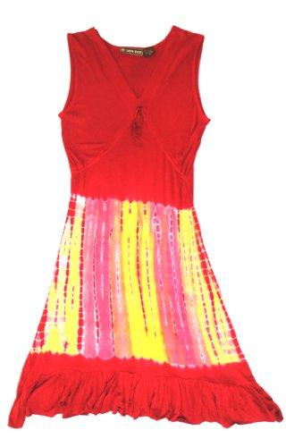 Raya Sun Flounce Tie Dye Dress Cranberry/Multi XL