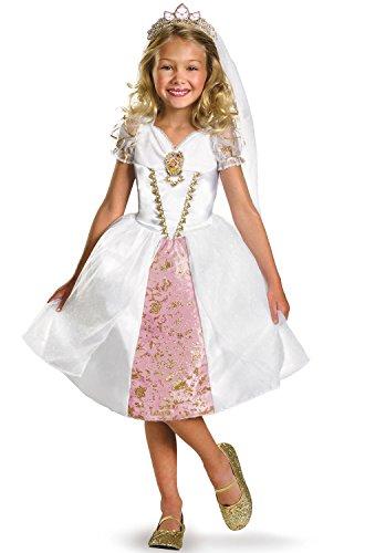 Tangled Dress Costume Wedding (Disney Tangled Rapunzel Wedding Gown Costume, Gold/White/Pink,)