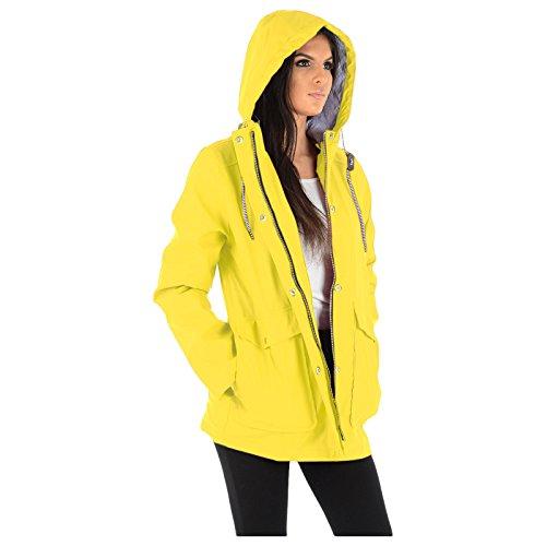 Designer Girls Rubberised Hooded Ladies Rain Resistant Festival Waterproof 16 MyShoeStore Parker Cagoule Top Windbreaker Yellow Big PVC Water Womens Parka PU Kagool 8 Size Plus PU Raincoat Mac Jacket aUYOwTvOq