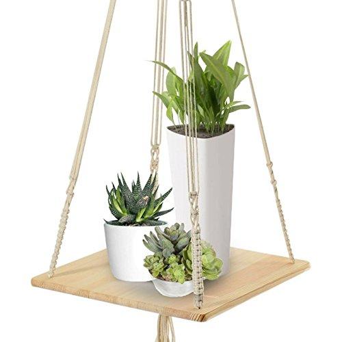 Macrame Shelf Planter Hanger For Indoor Plants With Wooden Shelf