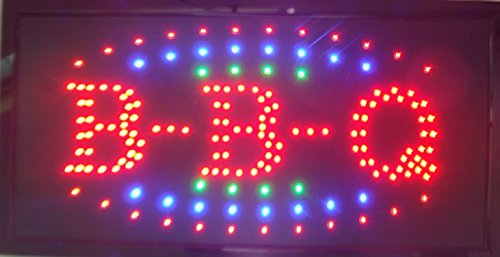 CHENXI LED BBQ Shop Open Sign special offer custom sign graphics semi-outdoor Ultra Bright flashing 1019 Inch BBQ store signboard (48 X 25 CM, - B&q Prices Delivery