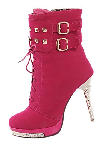 TOOGOO (R) Heisse Sexy Frauen hohe Absaetze Stoeckelschuh hoch Absatz Stiefeletten Schuhe rot 38