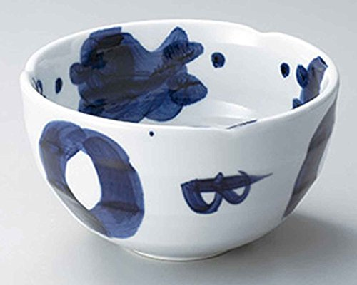 Gosu Blue 5.9inch Set of 10 Ramen-Bowls White porcelain Made in Japan by Watou.asia