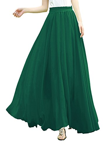 v28 V28Women Full/Ankle Length Elastic Pleated Retro Maxi Chiffon Long Skirt (M, Jungle (Chiffon Green)