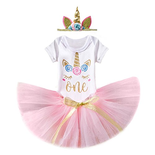 3PCS Unicorn Princess Outfit Newborn Baby Girls 1st Birthday Flower Romper Bodysuit T-Shirt Top Cake Smash Layered Rainbow Tulle Tutu Skirt Dress Hair Clip Horn Headband Clothes Set Pink 1 Year
