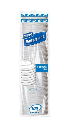 Insulair PDL8FR1000 White Dome Lid Wisesize for 8-Ounce Cup (10 packs of 100)