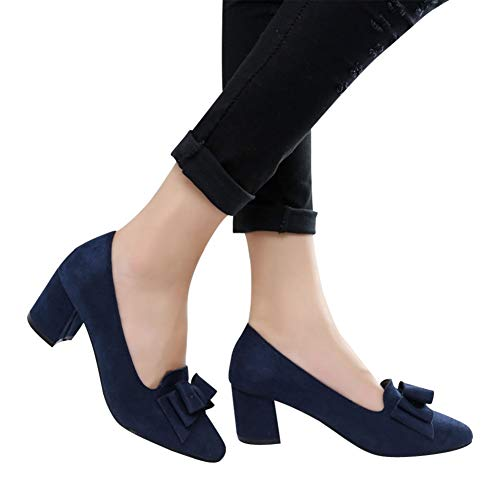 Women's Comfortable Bow Point Toe Flat Pumps Slip On Low Heels Shoes by Lowprofile Dark Blue ()
