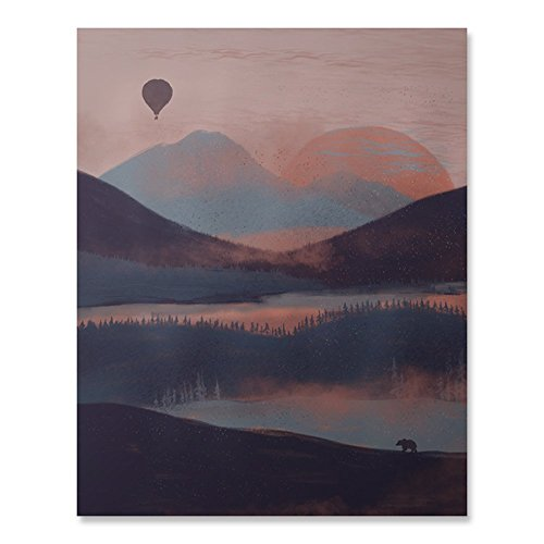Outdoor Inspiration Wilderness Sunrise Lover Art Print Beautiful Peaceful Serene Forest Trees Lake Reflection Balloon Ride Over Mountains Nature Bear Wall Art Pink Blue Sky Home Decor 8 x 10 Inches