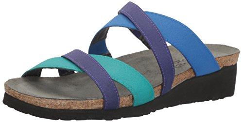 Naot Footwear Women's Roxanna Aqua Stretch/Royal Blue Stretch/Gloss Purple Stretch Sandal 8 M US