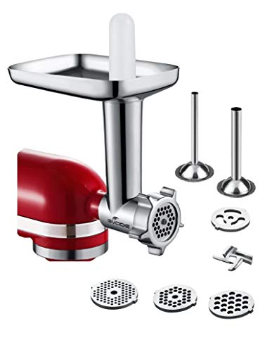 Food Meat Grinder Attachment Compatible with KitchenAid Stand Mixers Included 2 Sausage Stuffers -Useful Mixer Accessory as Food Processor (Kitchen Aid Meat Attachment)