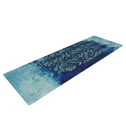 "Kess InHouse Frederic Levy-Hadida ""Mosaic in Cyan"" Yoga Exercise Mat, Yo, 72 x 24-Inch"