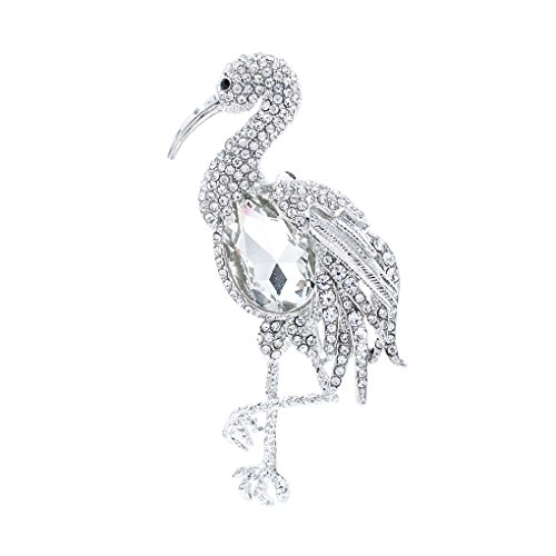 SEPBRIDALS Rhinestone Crystal Bird Flamingo Brooch Broach Pin Pendant for Thanksgiving FA5076 (Silver) (Silver Pin Bird)