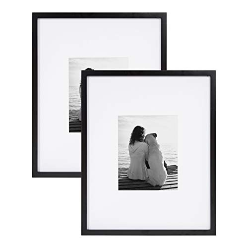 DesignOvation Gallery Wood Photo Frame Set for Customizable Wall Display, Pack of 2 16x20 matted to 8x10 Black