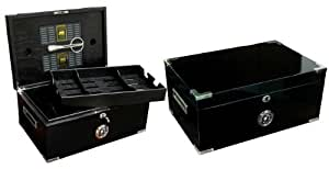 Prestige Import Group 120 Ct. Full Black Humidor w/ Scissors & Polished Hardware