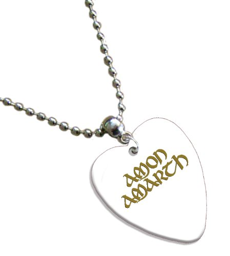 Amon Amarth Hot Foil on White Love Heart Pick Collier Médiator
