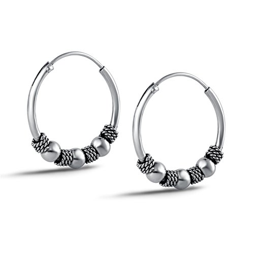 Sterling Silver Bean - Agvana Sterling Silver Vintage Balinese Bean Small Hoop Earrings For Girls Women Diameter 16.7mm