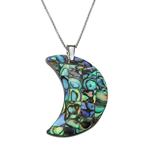 Abalone Shell (Assembled) Mosaic Crescent Moon Pendant Sterling Silver Cable Chain Necklace, 18