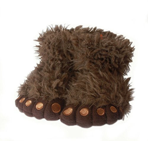 Comfortable Fuzzy Brown Animal Gorilla Paw Foot Unisex Slippers S(11-12) (Youth Gorilla Costume)