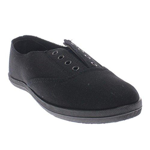 Diva Sauvage Mode Féminine Lacets En Toile Slip Sur Sneakers Mocassins Appartements Chaussures Noir Noir 63