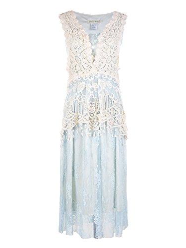 Anna-Kaci Womens Vintage Lace Gatsby 1920s Cocktail Dress With Crochet Vest, Light Blue, Large/X-Large (Crochet Dress Vintage)