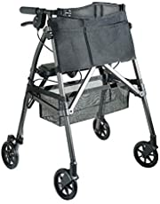 Stander Ez Fold-n-go Rollator, Lightweight Folding 4 Wheel Rolling Walker for Seniors With Compact Travel Seat and Locking Brakes, Black Walnut, 6.8 ounces