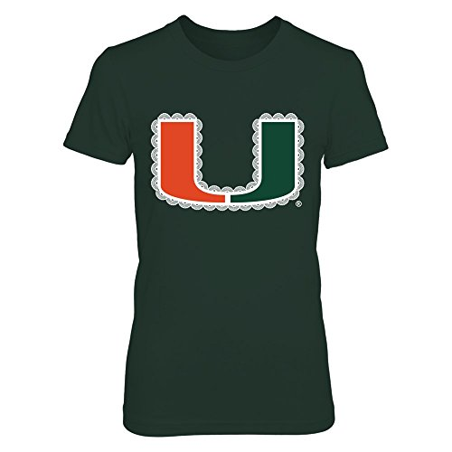 FanPrint Miami Hurricanes T-Shirt - Girly Lace Pattern - Women's Tee/Forest - Lady Girly T-shirt Green