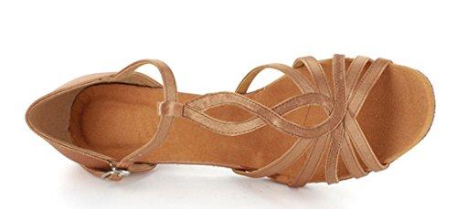 Tda Mujeres Fashion T-strap Salsa Tango Ballroom Latin Modern Dance Boda Zapatos Marrón