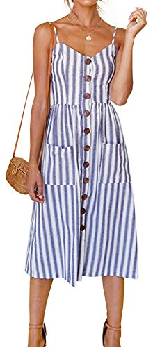Kuraki Women's Sleeveless V Neck Striped Button Trimmed Swing Dress with Pocket XL whiteblue (Trimmed Dress)