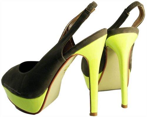 Odeon Chaussures à talon daim doux Bout et arrière ouverts Femme - - Taupe Neon Yellow, 38.5 (6 UK)