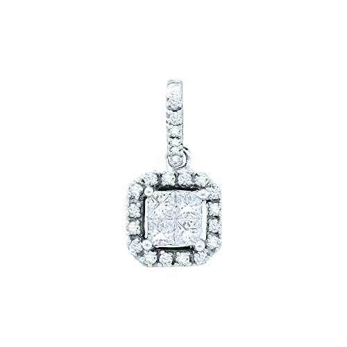 Sonia Jewels 14k Yellow Gold Invisible Channel Set Princess and Round Cut Diamond Pendant in Square Setting (1/4 cttw) (Diamond Princess Pendant Set Invisible)