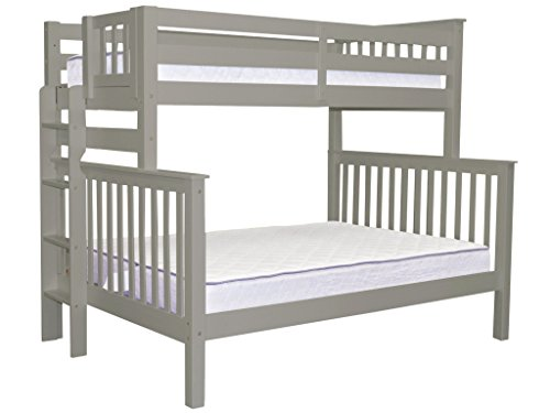 Bedz King Bunk Beds Twin Over Full Mission Style With End Ladder Gray By