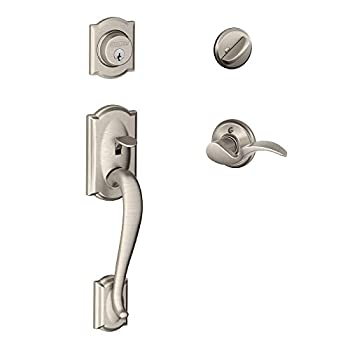 Image of Camelot Single Cylinder Handleset and Left Hand Avanti Lever, Satin Nickel (F60 CAM 619 AVA LH) Home Improvements