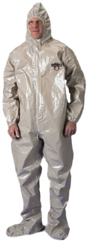 Lakeland ChemMax 4 Taped Seam Coverall with Respirator Fit Hood and Hood, Disposable, Elastic Cuff, 2X-Large, Tan (Case of - Lakeland Shop