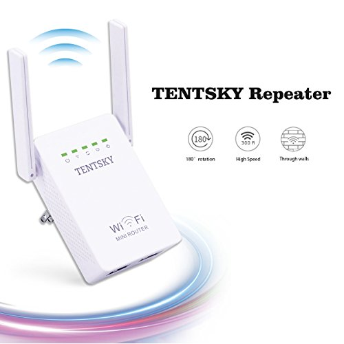 TENTSKY 300Mbps WiFi Router Long Range Extender 2.4GHz WiFi Repeater Signal Amplifier Booster Network Extender with Dual Band Antenna Complies IEEE802.11n/g/b with WPS Repeater/Router/AP Mode by TENTSKY