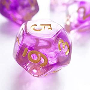 Polyhedral Nebula Purple Crystal 7-DND Dice Sets RPG MTG Table Games Dice D4 D6 D8 D10 D12 D20