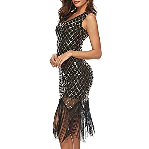 Hapae Gatsby Dress, Women 1920s Art Deco Sequin Paisley Flapper Tassel Glam Party Cocktail Dresses Sexy Sling Vintage Dress Ladies Evening Dress