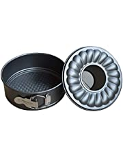 7 Inch Springform Pan and Bundt Pan, Cheesecake and Ice-Cream Cake Pans, Non-stick Carbon Steel Bakeware 2 in 1 with Removable Bottom and Quick-Release Latch for 5,6,8 QT Instant Pot -Gray