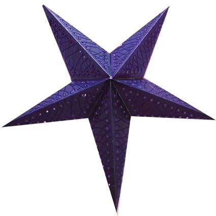 Stella Di Natale A 5 Punte.Brubaker Stella Di Natale Stella Di Carta Con 5 Punte Di Colore Viola Con Dei Ricami Tono Su Tono 60 Cm