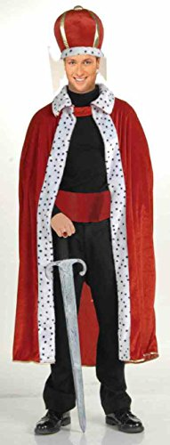 King Robe And Crown Set Kids Costumes (OvedcRay Renaissance Medieval Royal King Robe Adult Red Purple King Costume Robe W/ Crown)
