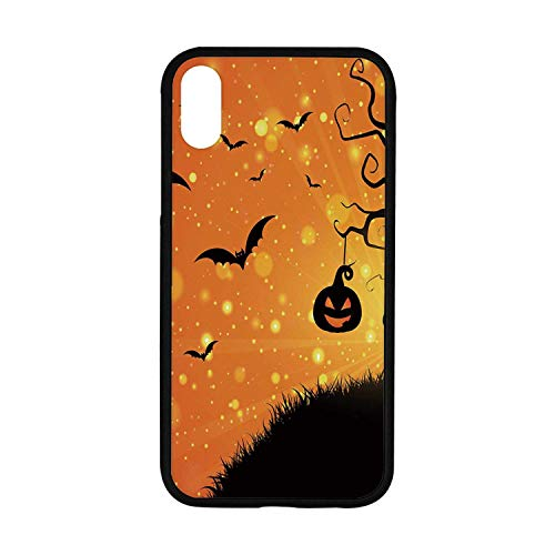 Halloween Rubber Phone Case,Magical Fantastic Evil Night Icons Swirled Branches Haunted Forest Hill Decorative Compatible with iPhone XR -