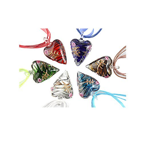 Murano Glass Heart Necklace (Beautiful Murano Heart Shaped Glass Pendant Necklace 6Pc Mix Color Set)