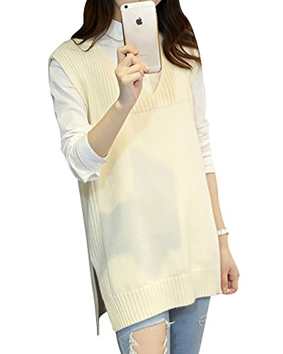 Gilet Tunique Femmes Sans Sweater Pull over Haut Collar Deep Tricot Tops Manches V Blouse Blanc qAFq0Ow