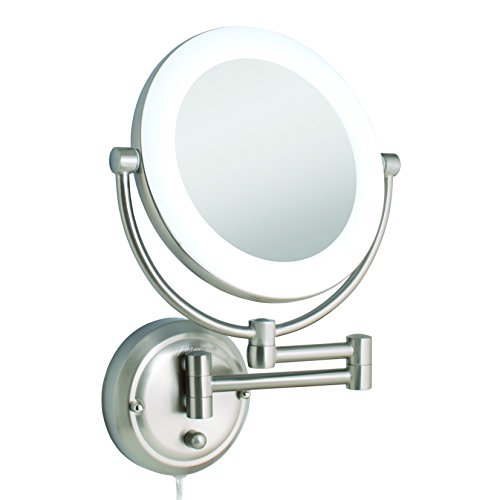 Zadro Dual-Sided Surround Light Swivel Wall Mount Mirror with 1X & 10X magnification (Hardwire Ready).