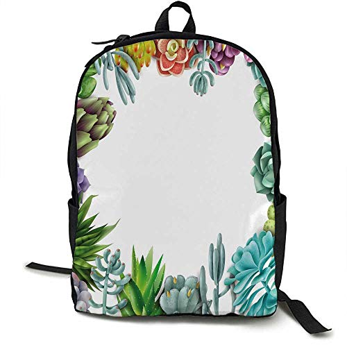 Succulent Unisex classic backpack Frame with Various Succulent Plants Collection Vivid Garden Tropical Nature Image Suitable for 16-inch laptops 16.5 x 12.5 x 5.5 Inch Multicolor