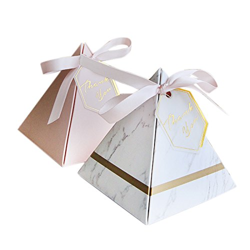 SODIAL Europe Triangular Pyramid Style Candy Box Wedding Favors Party Supplies Paper Gift Boxes with Thanks Card & Ribbon